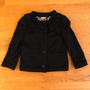 Juicy Couture Navy Ruffle Wool Coat